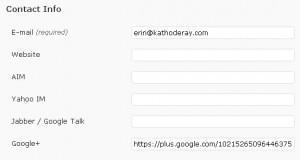 Google+ link in a WordPress user profile