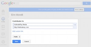 """Google+ """"Contributor To"""" section of a profile"""