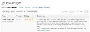 Install Google Analyticator Plugin