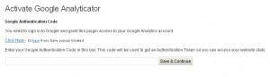Authenticate Google Analyticator